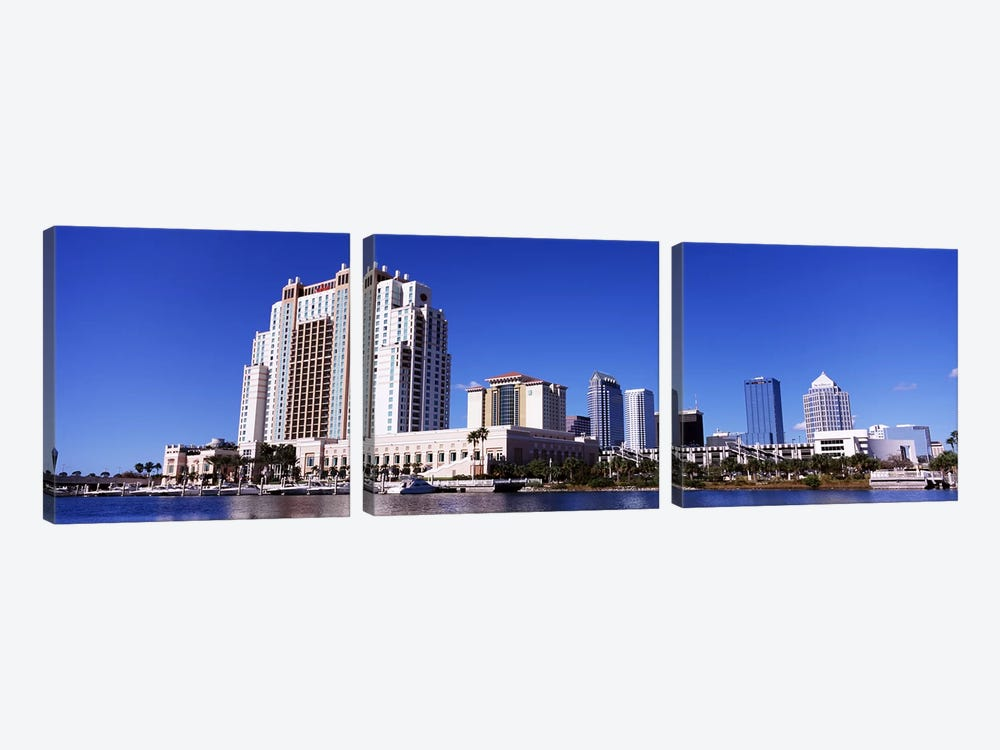 Skyscrapers at the waterfront, Tampa, Hillsborough County, Florida, USA by Panoramic Images 3-piece Canvas Art Print