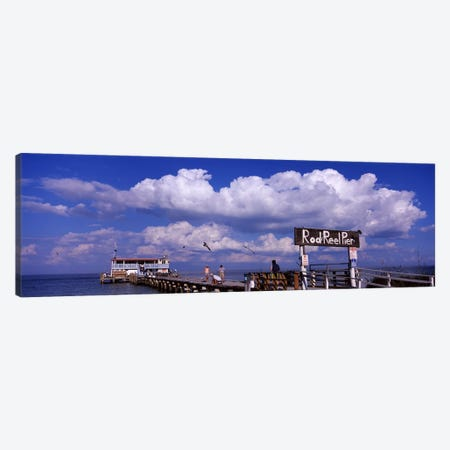 Information board of a pier, Rod and Reel Pier, Tampa Bay, Gulf of Mexico, Anna Maria Island, Florida, USA Canvas Print #PIM6916} by Panoramic Images Art Print