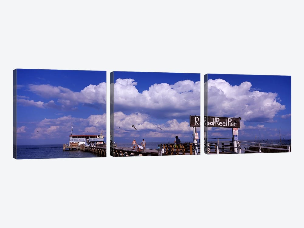 Information board of a pier, Rod and Reel Pier, Tampa Bay, Gulf of Mexico, Anna Maria Island, Florida, USA by Panoramic Images 3-piece Art Print