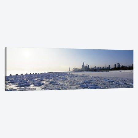 Frozen lake with a city in the backgroundLake Michigan, Chicago, Illinois, USA Canvas Print #PIM6920} by Panoramic Images Canvas Art Print