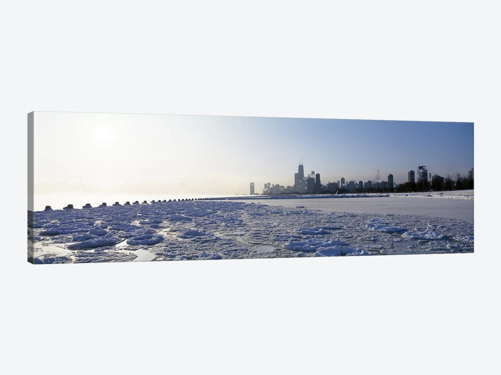 Frozen lake with a city in the backgroundLake Michigan, Chicago, Illinois, USA by Panoramic Images 1-piece Canvas Artwork