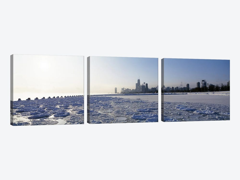 Frozen lake with a city in the backgroundLake Michigan, Chicago, Illinois, USA 3-piece Canvas Art