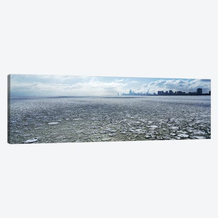 Frozen lake with a city in the backgroundLake Michigan, Chicago, Illinois, USA Canvas Print #PIM6921} by Panoramic Images Canvas Print