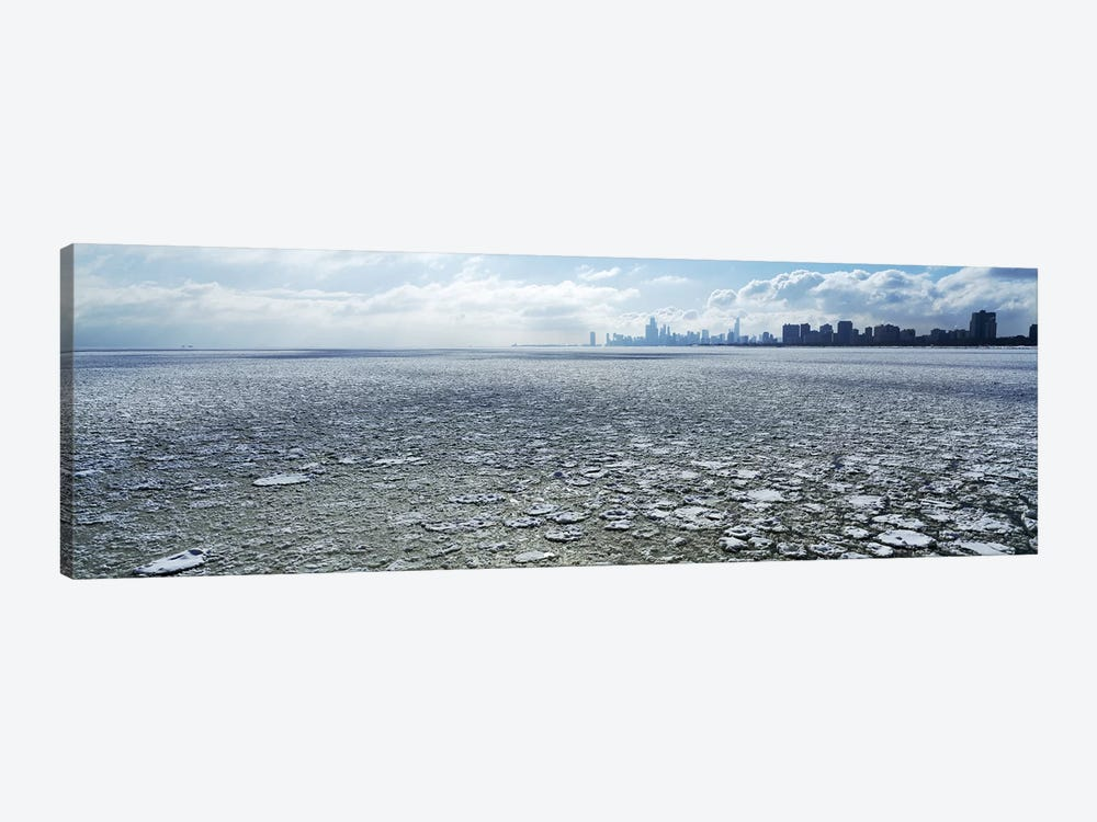 Frozen lake with a city in the backgroundLake Michigan, Chicago, Illinois, USA by Panoramic Images 1-piece Canvas Print