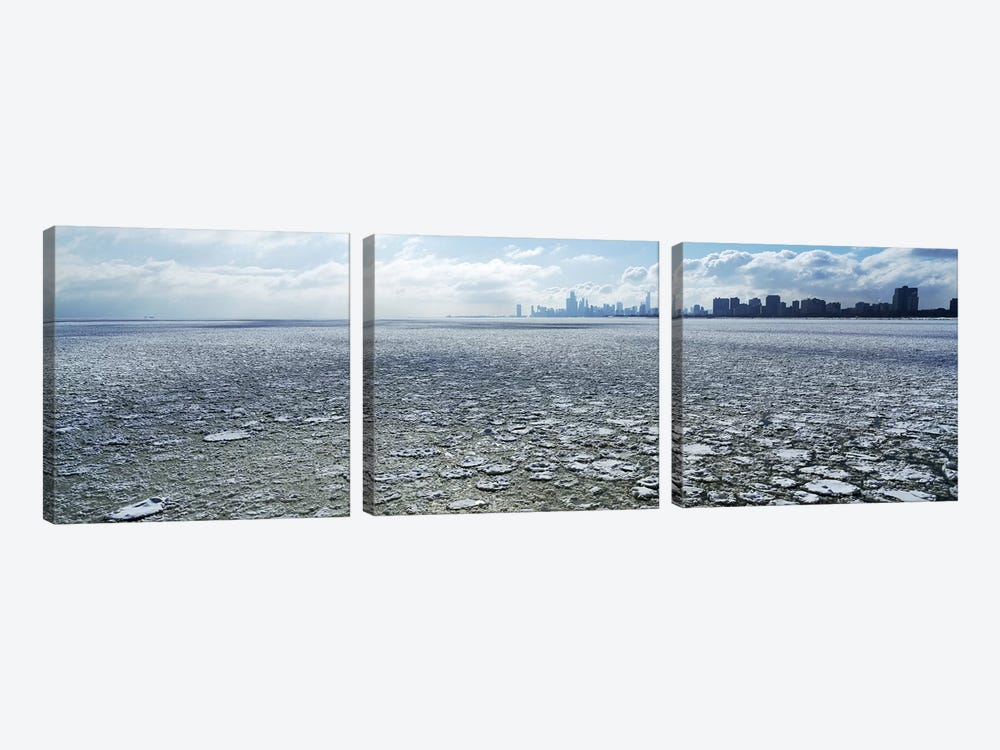 Frozen lake with a city in the backgroundLake Michigan, Chicago, Illinois, USA by Panoramic Images 3-piece Canvas Art Print