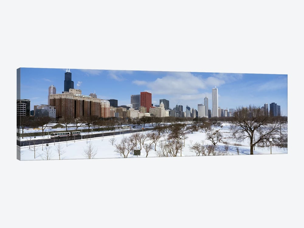 Skyscrapers in a cityGrant Park, South Michigan Avenue, Chicago, Illinois, USA by Panoramic Images 1-piece Canvas Wall Art
