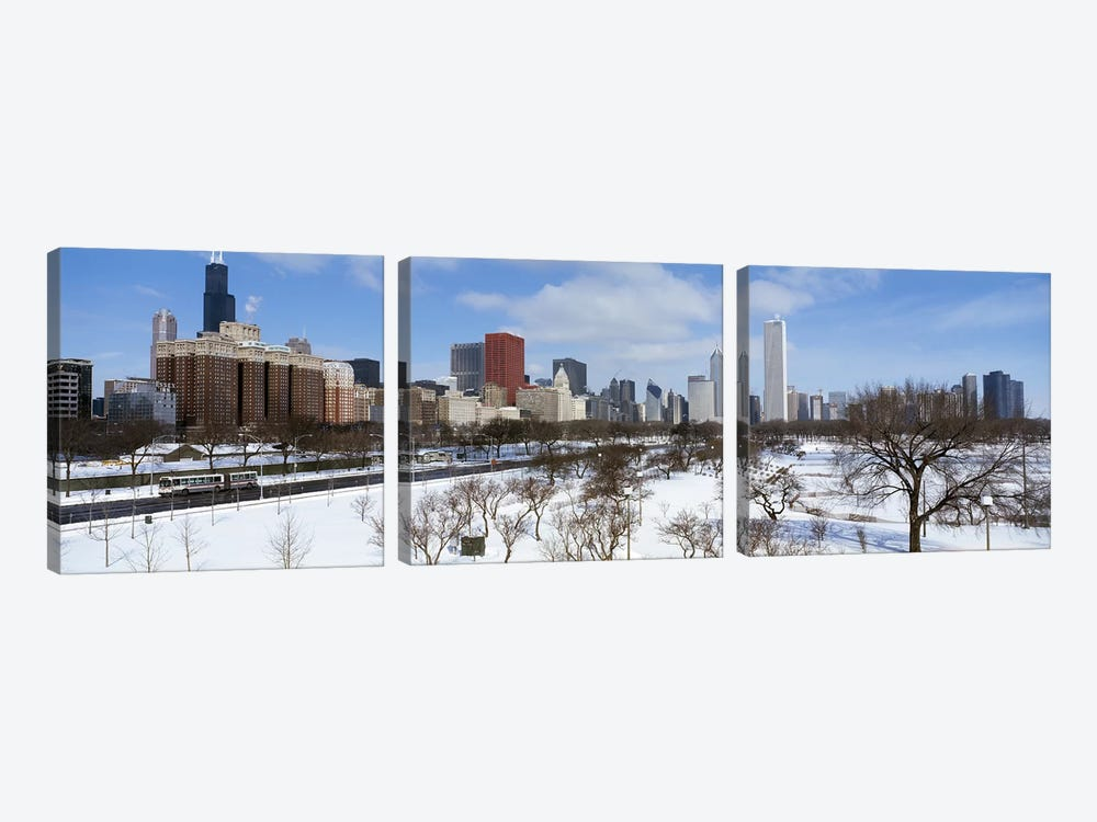 Skyscrapers in a cityGrant Park, South Michigan Avenue, Chicago, Illinois, USA by Panoramic Images 3-piece Canvas Wall Art