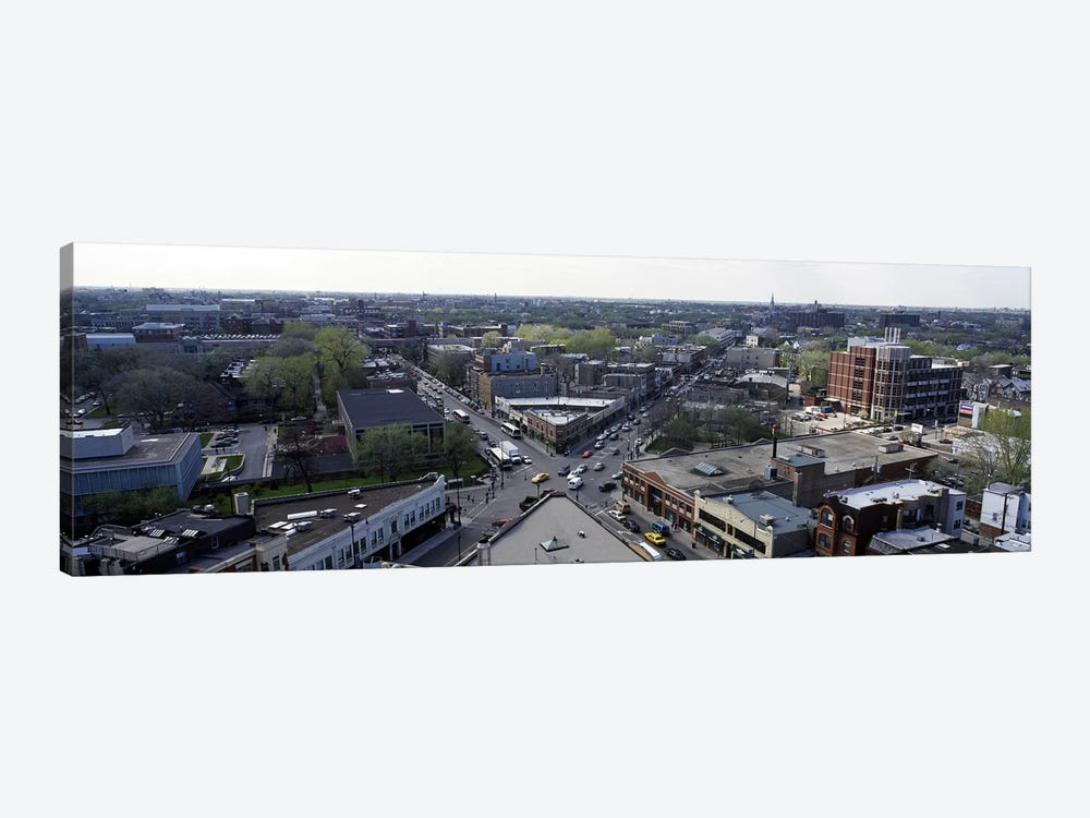 Aerial view of crossroad of six cornersFullerton Avenue, Lincoln Avenue, Halsted Avenue, Chicago, Illinois, USA by Panoramic Images 1-piece Canvas Art Print
