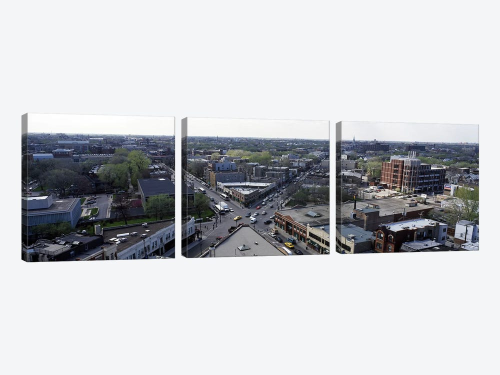 Aerial view of crossroad of six cornersFullerton Avenue, Lincoln Avenue, Halsted Avenue, Chicago, Illinois, USA by Panoramic Images 3-piece Canvas Print