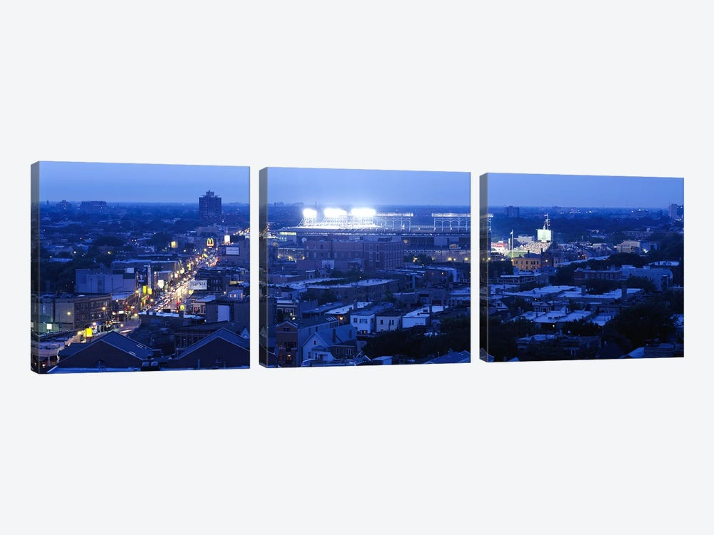 Aerial view of a cityWrigley Field, Chicago, Illinois, USA by Panoramic Images 3-piece Canvas Art