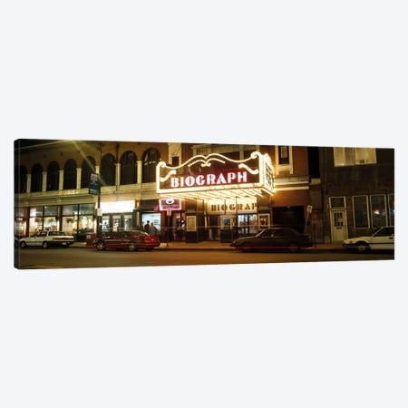 Theater lit up at nightBiograph Theater, Lincoln Avenue, Chicago, Illinois, USA Canvas Print #PIM6925} by Panoramic Images Canvas Artwork