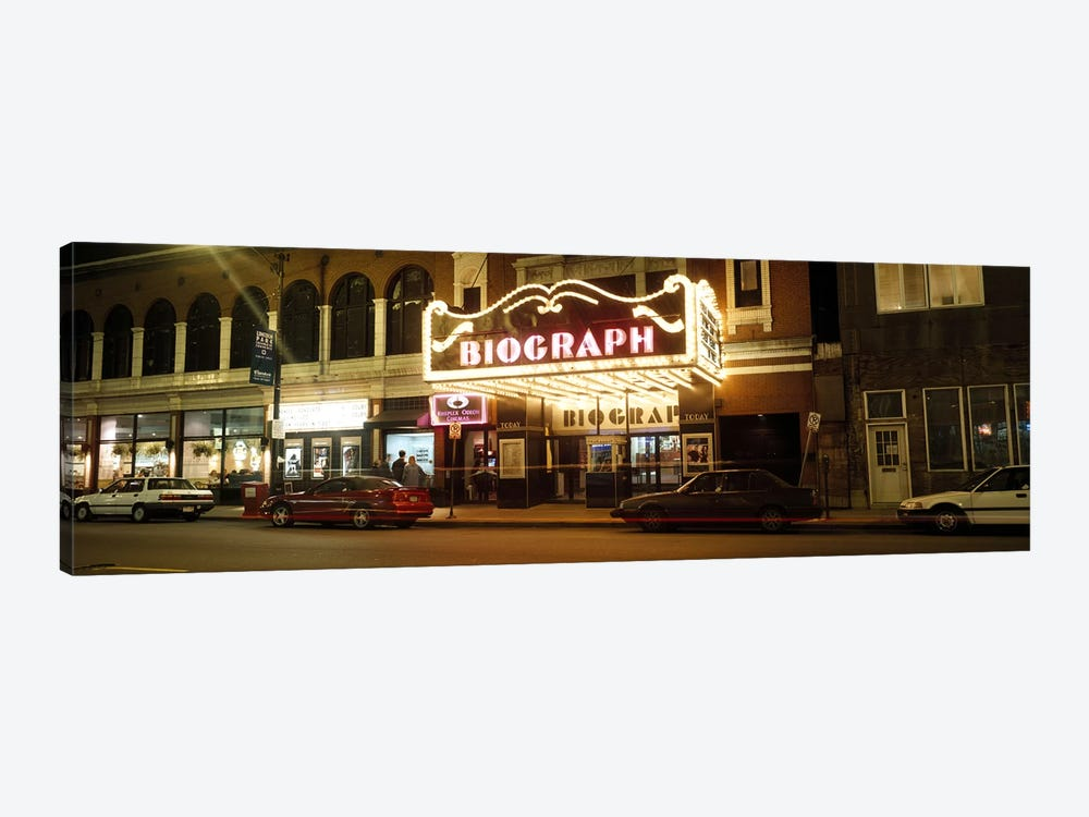 Theater lit up at nightBiograph Theater, Lincoln Avenue, Chicago, Illinois, USA by Panoramic Images 1-piece Art Print