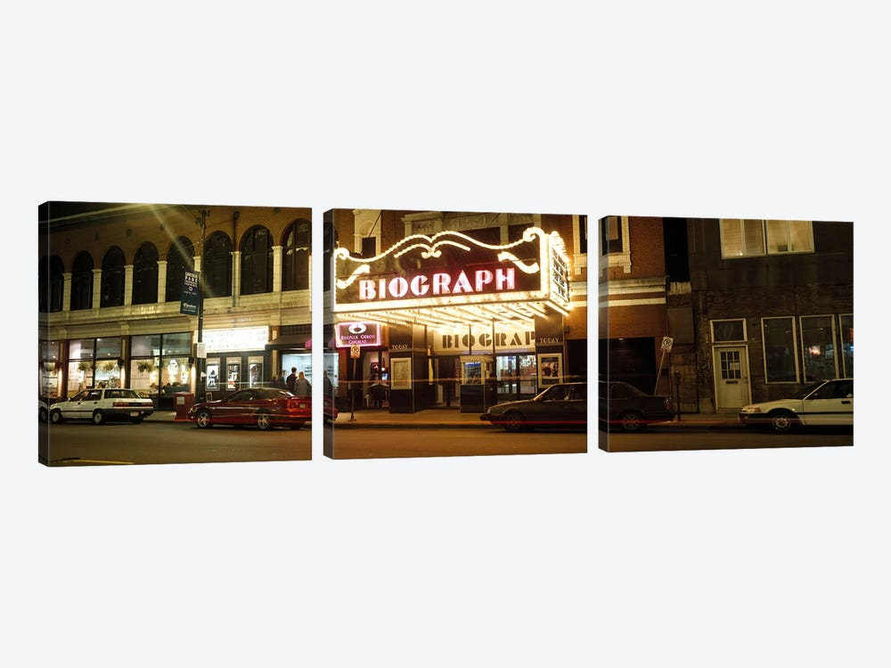 Theater lit up at nightBiograph Theater, Lincoln Avenue, Chicago, Illinois, USA by Panoramic Images 3-piece Canvas Art Print