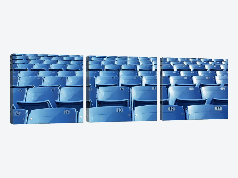 Empty blue seats in a stadiumSoldier Field, Chicago, Illinois, USA by Panoramic Images 3-piece Canvas Artwork