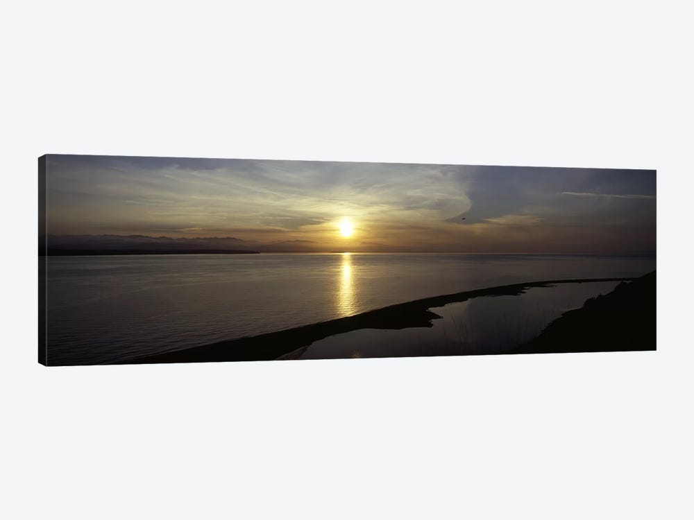 Sunset over the seaEbey's Landing National Historical Reserve, Whidbey Island, Island County, Washington State, USA by Panoramic Images 1-piece Canvas Artwork