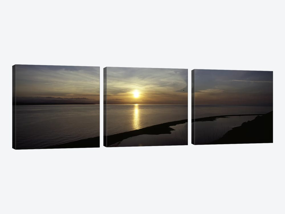 Sunset over the seaEbey's Landing National Historical Reserve, Whidbey Island, Island County, Washington State, USA by Panoramic Images 3-piece Canvas Art
