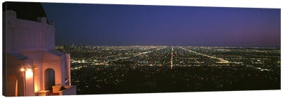 High angle view of a city at nightGriffith Park Observatory, Griffith Park, City of Los Angeles, Los Angeles County, California, USA Canvas Print #PIM6940