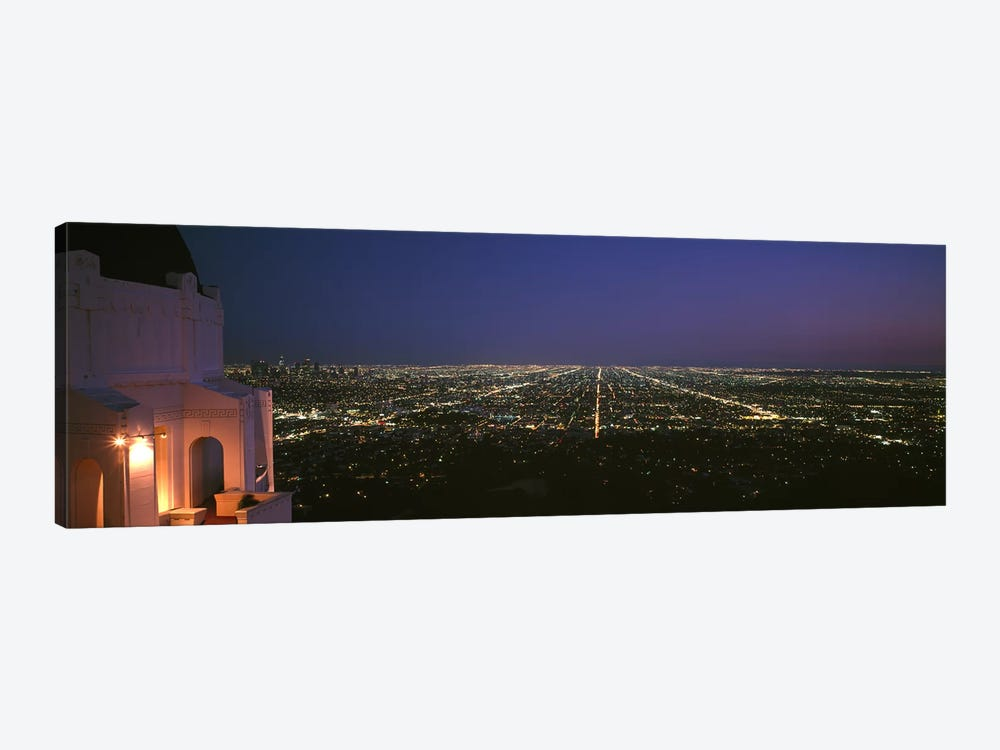 High angle view of a city at nightGriffith Park Observatory, Griffith Park, City of Los Angeles, Los Angeles County, California, by Panoramic Images 1-piece Canvas Artwork
