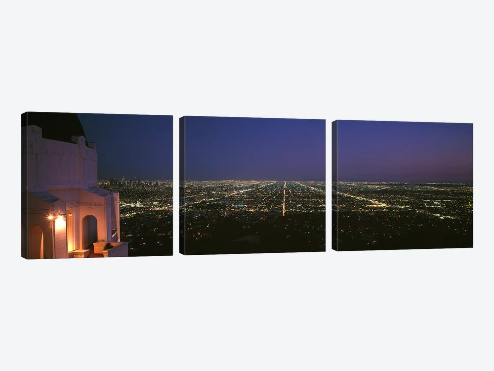 High angle view of a city at nightGriffith Park Observatory, Griffith Park, City of Los Angeles, Los Angeles County, California, by Panoramic Images 3-piece Canvas Wall Art