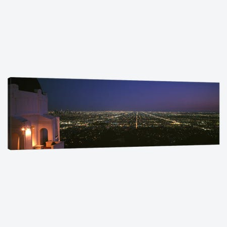 High-Angle Nighttime View From Griffith Park Observatory, Los Angeles County, California, USA Canvas Print #PIM6940} by Panoramic Images Canvas Art Print