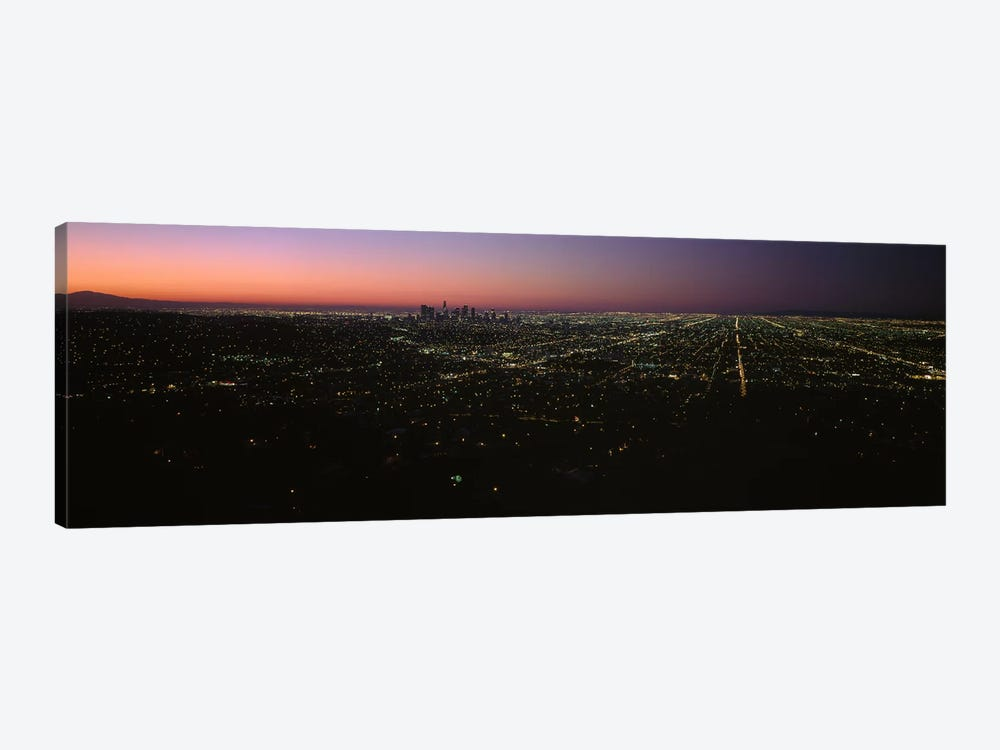High angle view of a city at night from Griffith Park Observatory, City Of Los Angeles, Los Angeles County, California, USA by Panoramic Images 1-piece Canvas Print