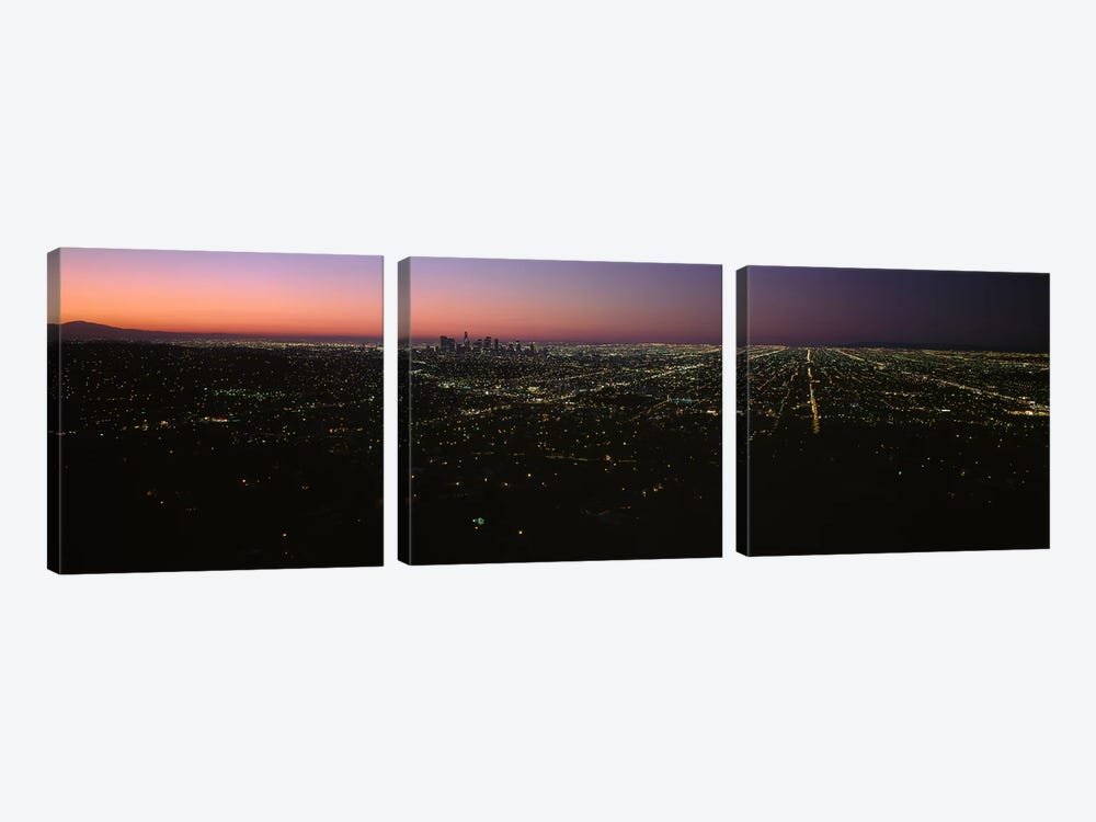 High angle view of a city at night from Griffith Park Observatory, City Of Los Angeles, Los Angeles County, California, USA by Panoramic Images 3-piece Canvas Print
