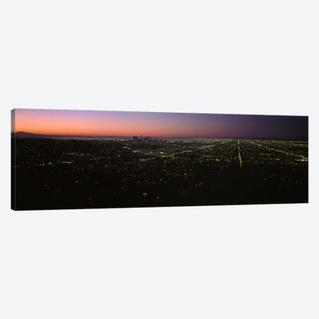 High angle view of a city at night from Griffith Park Observatory, City Of Los Angeles, Los Angeles County, California, USA 3-Piece Canvas #PIM6941} by Panoramic Images Art Print