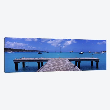 Seascape With Boats, Sandy Ground, Anguilla Canvas Print #PIM6942} by Panoramic Images Canvas Print