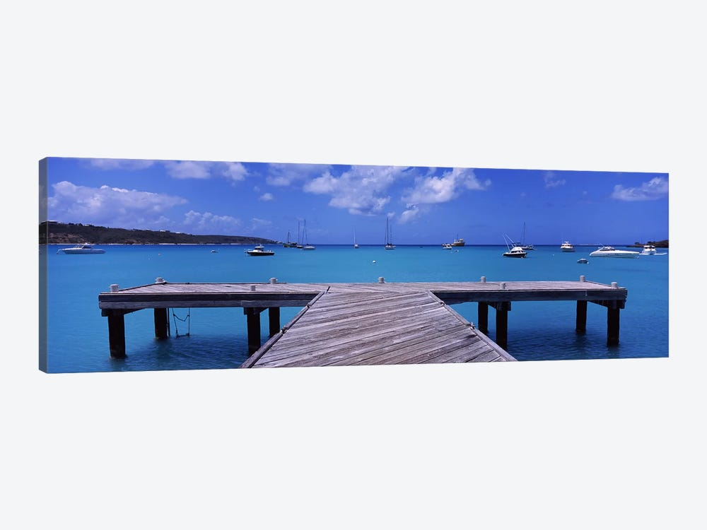Seascape With Boats, Sandy Ground, Anguilla by Panoramic Images 1-piece Canvas Art