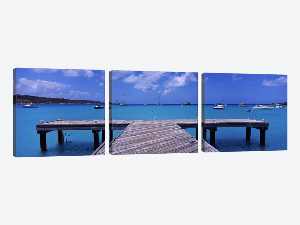 Seascape With Boats, Sandy Ground, Anguilla by Panoramic Images 3-piece Canvas Art