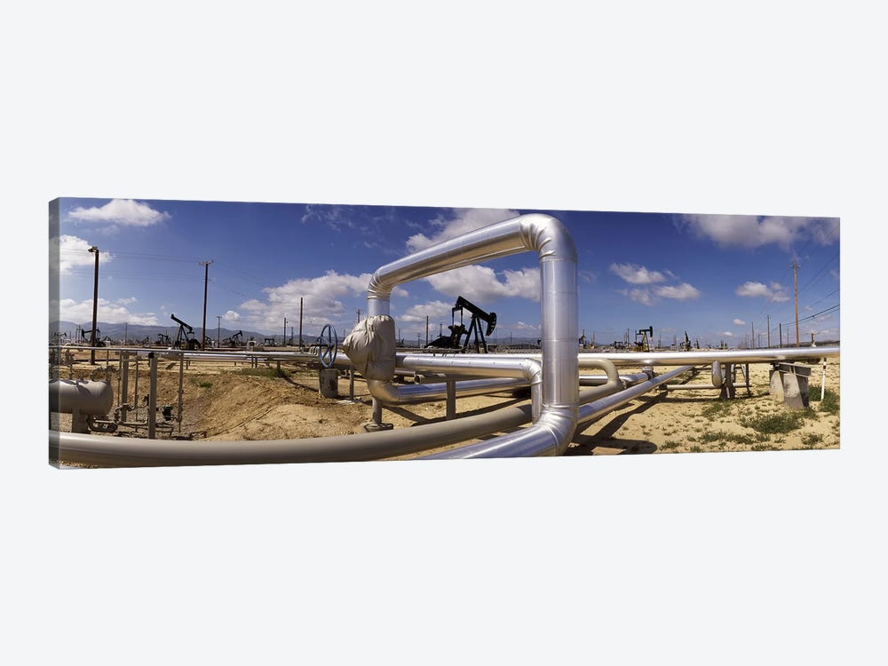 Oil Field Pipelines, Taft, Kern County, California, USA by Panoramic Images 1-piece Canvas Artwork