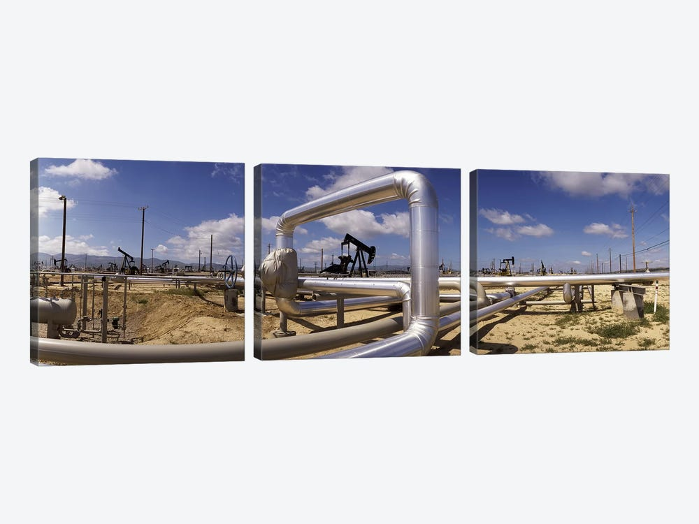 Oil Field Pipelines, Taft, Kern County, California, USA by Panoramic Images 3-piece Canvas Wall Art