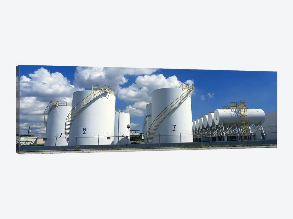 Storage tanks in a factory, Miami, Florida, USA #2 by Panoramic Images 1-piece Canvas Art Print