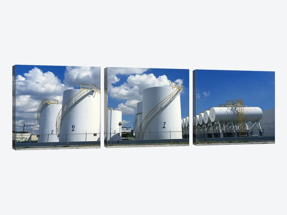 Storage tanks in a factory, Miami, Florida, USA #2 by Panoramic Images 3-piece Art Print