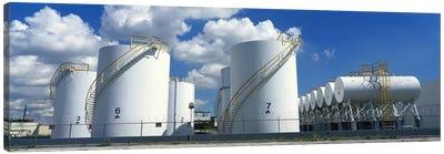 Storage tanks in a factory, Miami, Florida, USA #2 Canvas Art Print