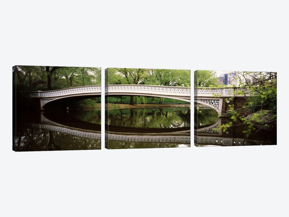 Arch bridge across a lake, Central Park, Manhattan, New York City, New York State, USA by Panoramic Images 3-piece Canvas Art Print