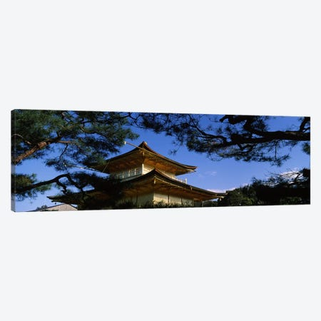 Low angle view of trees in front of a temple, Kinkaku-ji Temple, Kyoto City, Kyoto Prefecture, Kinki Region, Honshu, Japan Canvas Print #PIM6949} by Panoramic Images Canvas Art Print