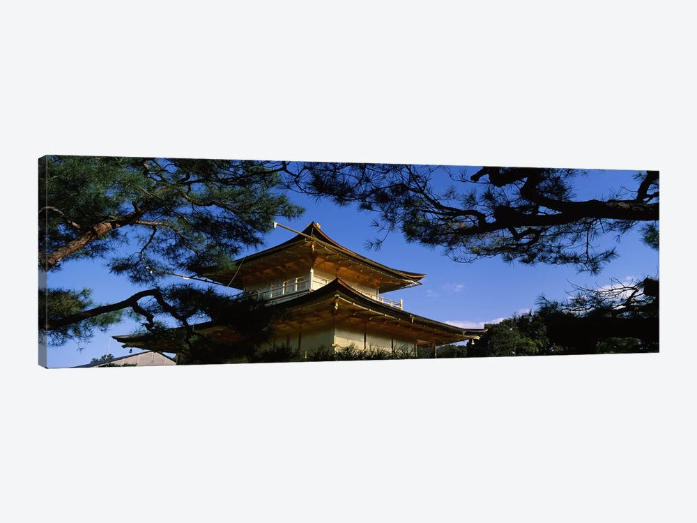 Low angle view of trees in front of a temple, Kinkaku-ji Temple, Kyoto City, Kyoto Prefecture, Kinki Region, Honshu, Japan by Panoramic Images 1-piece Canvas Art Print