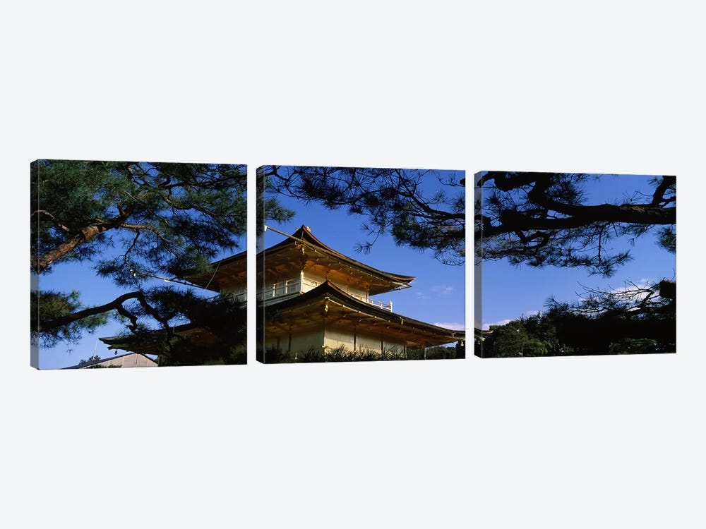 Low angle view of trees in front of a temple, Kinkaku-ji Temple, Kyoto City, Kyoto Prefecture, Kinki Region, Honshu, Japan by Panoramic Images 3-piece Canvas Art Print