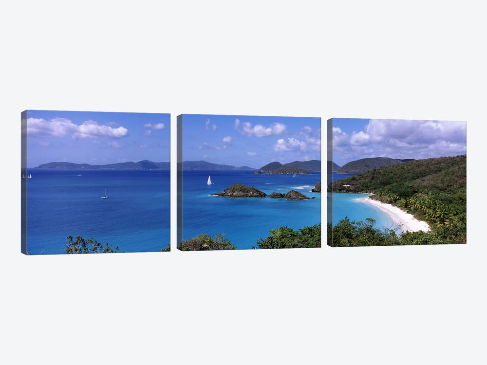 High-Angle View Of Trunk Bay, Virgin Islands National Park, St. John, United States Virgin Islands by Panoramic Images 3-piece Canvas Art Print