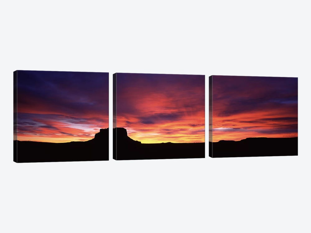 Buttes at sunset, Chaco Culture National Historic Park, New Mexico, USA by Panoramic Images 3-piece Art Print