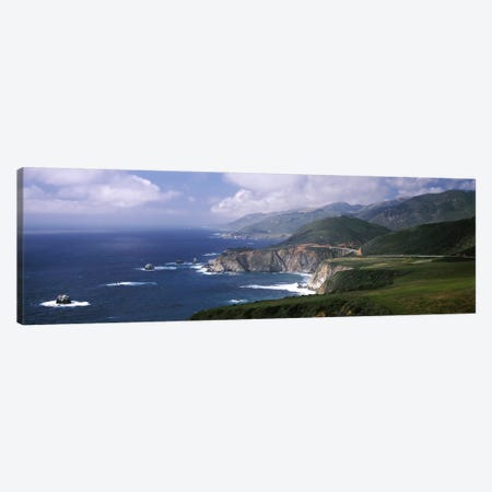 Coastal Landscape With A Distant View Of Bixby Creek Bridge, Big Sur, California, USA Canvas Print #PIM6956} by Panoramic Images Art Print