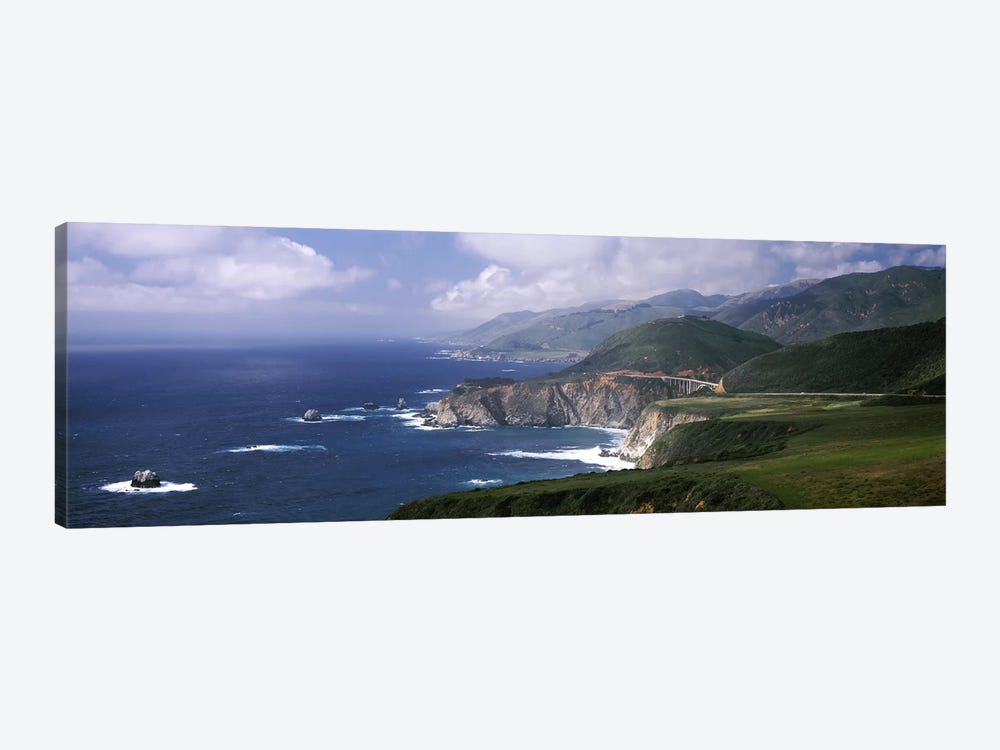 Coastal Landscape With A Distant View Of Bixby Creek Bridge, Big Sur, California, USA by Panoramic Images 1-piece Canvas Print