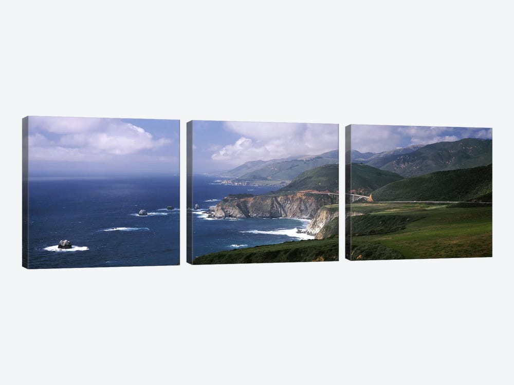 Coastal Landscape With A Distant View Of Bixby Creek Bridge, Big Sur, California, USA by Panoramic Images 3-piece Canvas Print