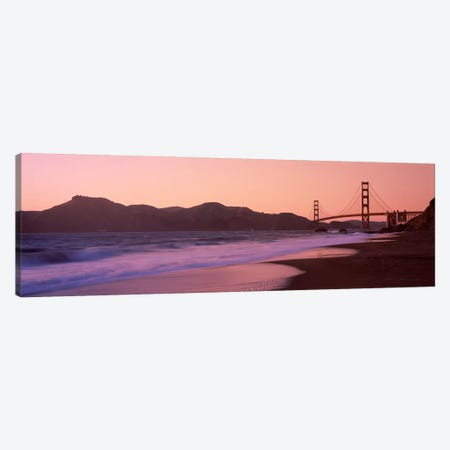 Beach and a suspension bridge at sunset, Baker Beach, Golden Gate Bridge, San Francisco, San Francisco County, California, USA Canvas Print #PIM6957} by Panoramic Images Art Print