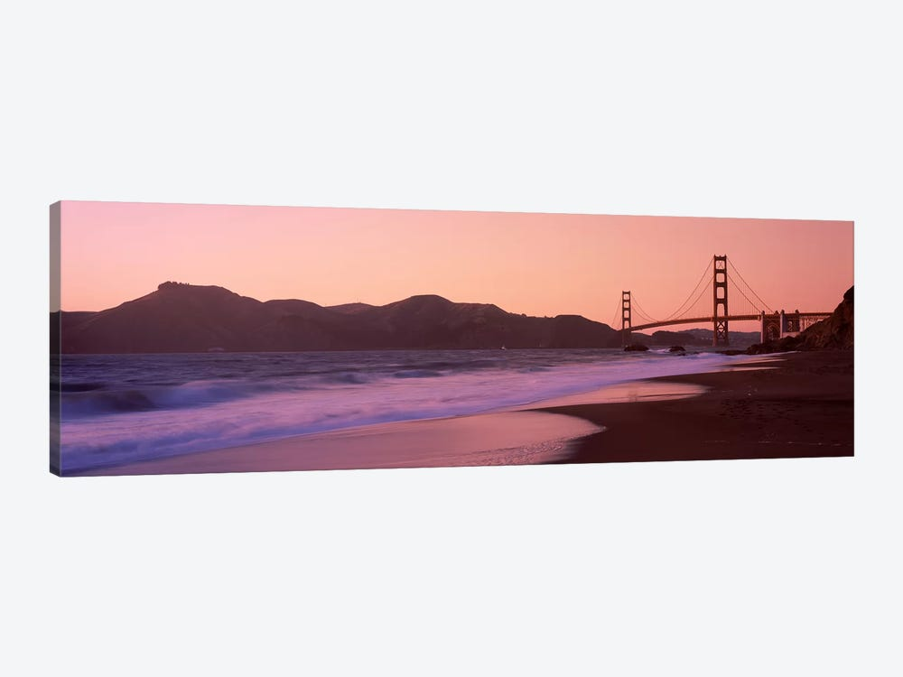 Beach and a suspension bridge at sunset, Baker Beach, Golden Gate Bridge, San Francisco, San Francisco County, California, USA by Panoramic Images 1-piece Canvas Artwork