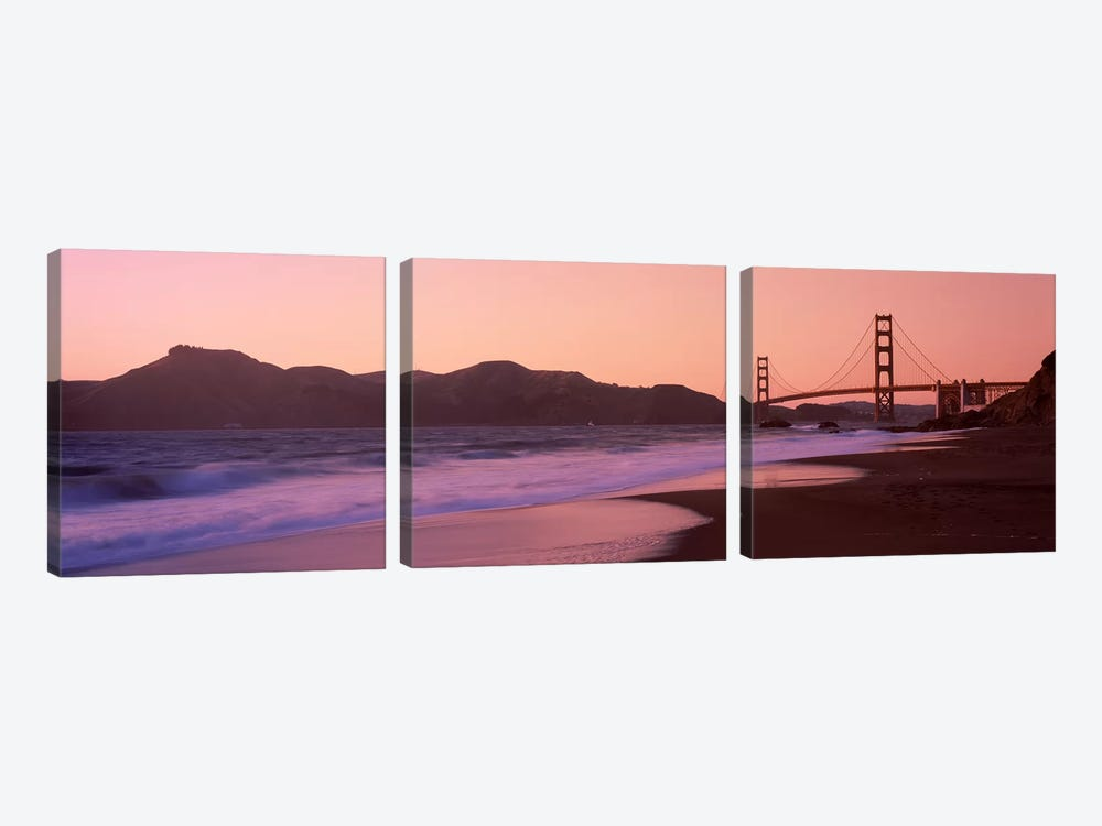 Beach and a suspension bridge at sunset, Baker Beach, Golden Gate Bridge, San Francisco, San Francisco County, California, USA by Panoramic Images 3-piece Canvas Artwork