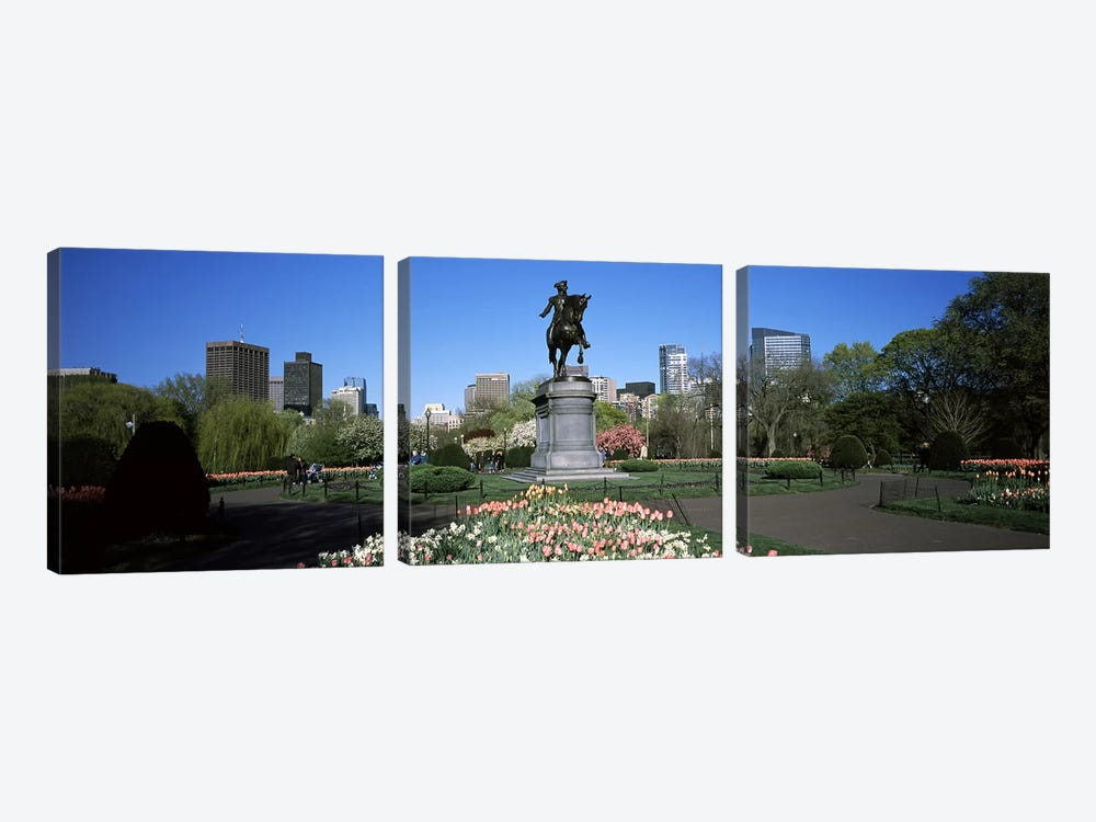 Statue in a garden, Paul Revere Statue, Boston Public Garden, Boston, Suffolk County, Massachusetts, USA by Panoramic Images 3-piece Canvas Artwork