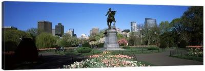Statue in a garden, Paul Revere Statue, Boston Public Garden, Boston, Suffolk County, Massachusetts, USA Canvas Art Print