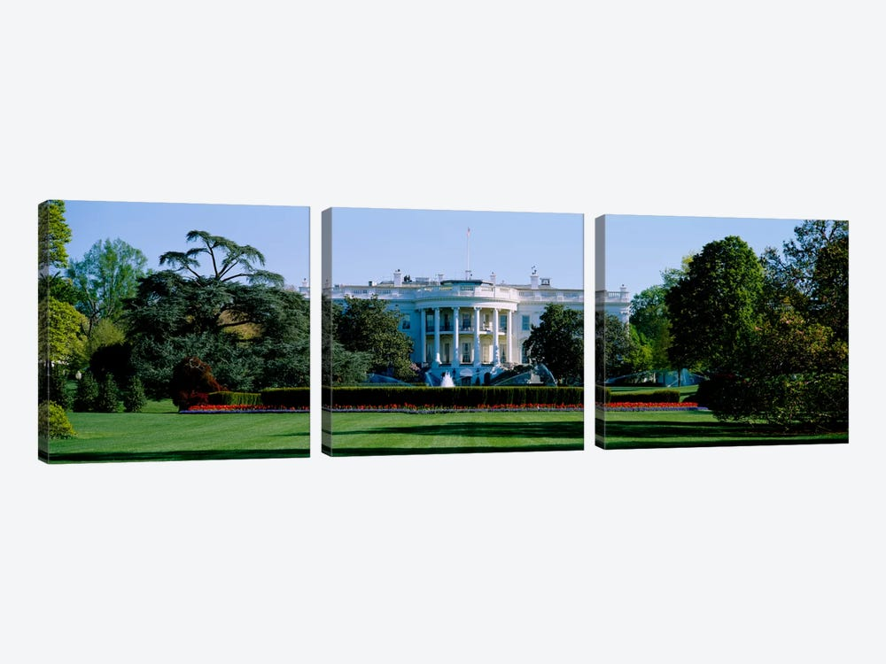 Lawn in front of a government buildingWhite House, Washington DC, USA by Panoramic Images 3-piece Canvas Artwork